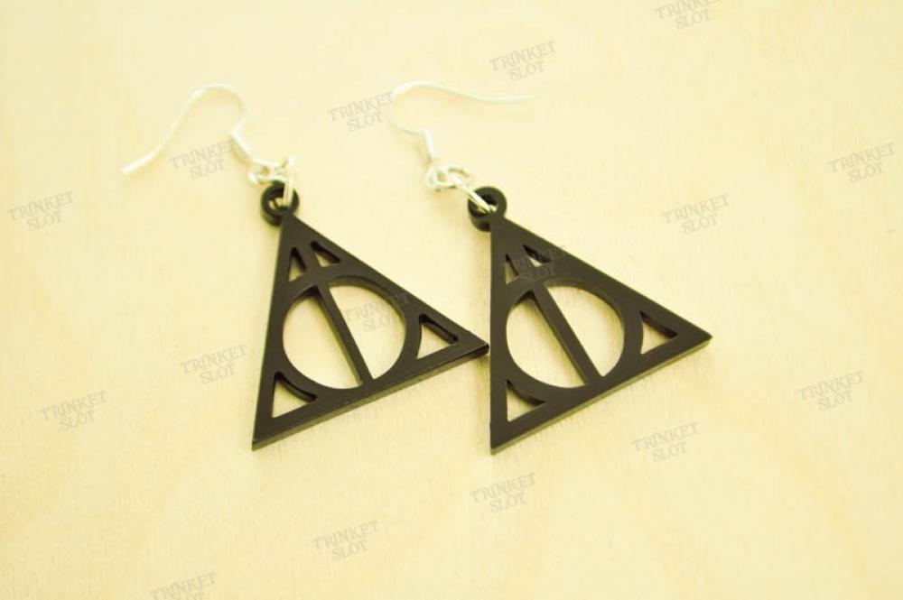 Harry Potter Deathly Hallows Symbol Earrings Trinket Slot
